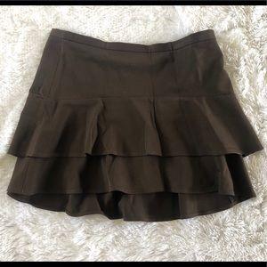 BCBGIRLS MaxAzria Brown 2 Tiered Skirt 10